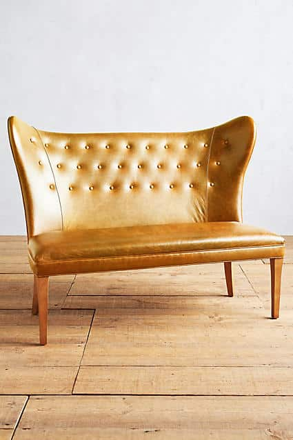 Premium Leather Wingback Bench, Armless | Anthropologie - Covetboard Artisan Home Lifestyle