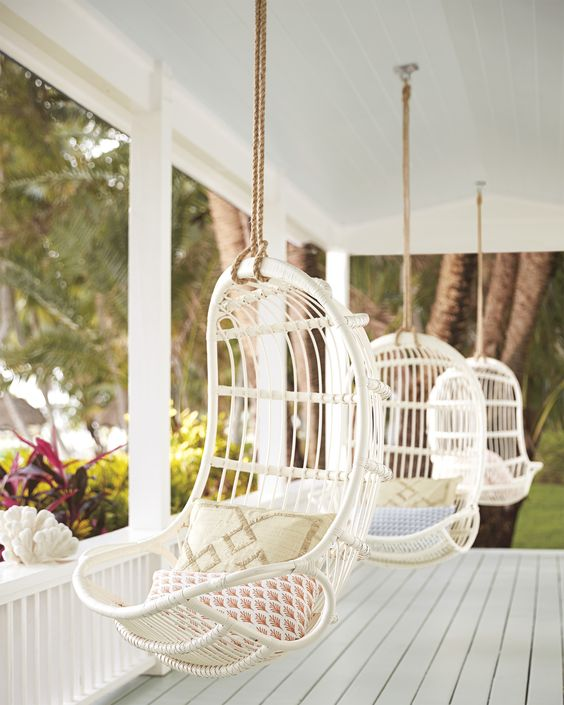 Hanging Rattan Chair | Serena & Lily | Covetboard
